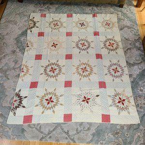Antique Handmade Star Quilt Display Sleeve 79 X 62